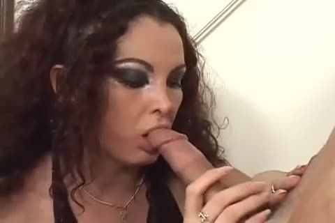 curly tgirl Sucks And Rides With A De