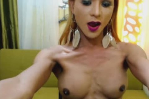 Skinny Filipina ladyboy Plays taut aperture
