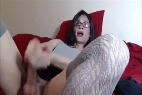 Skinny t-girl Cums On Her Glasses