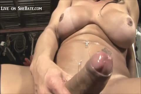 tranny Measure And Strokes Her 10-Pounder