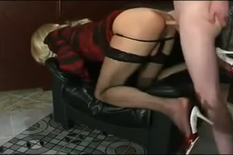 naughty blond Crossdresser Has joy With ramrod On Chair