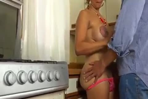 nailing My lovely  tgirl Wife In The  Kitchen