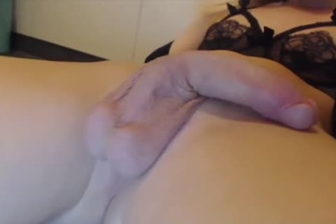 excellent blonde TS Stroking Her big cock