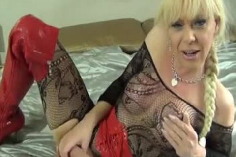 Blond shemale Joanna Jet Playing With Her recent toys
