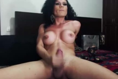 large tits tranny Jerks Off And Shows Precum