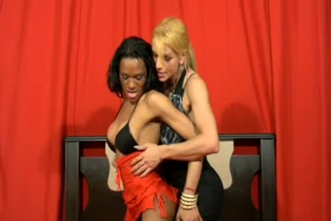 Two TS Girlfriends engulf And nail Each Other In Interracial