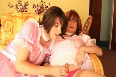 pretty Crossdresser strumpets suit Up As Maids And Have oral-job Party