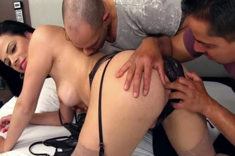 charming shemale Bruna Castro Sucks And bonks Two Delivery males