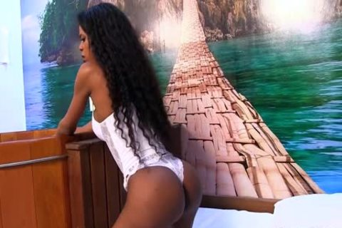 ebony tgirl Lavinia Magalhaes And A Whate lad poke Each Other Up The ass