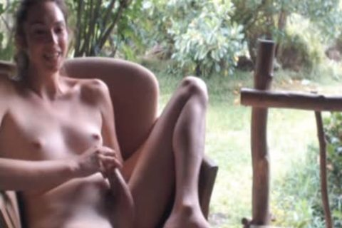 yummy Blondie ladyboy Touching Herself Outdoor