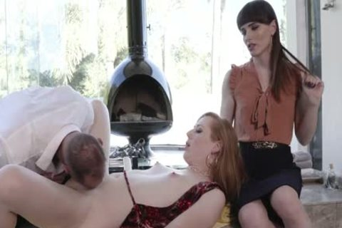Wife Surprises spouse With Redhead shemale slut For anal nail
