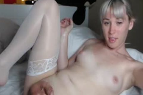 tasty Femboy In White nylons jerking off On webcam