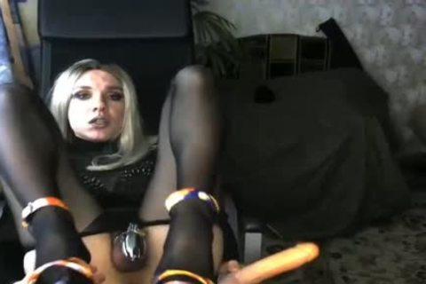 Crossdresser Tries Different dildos And Cums In His mouth
