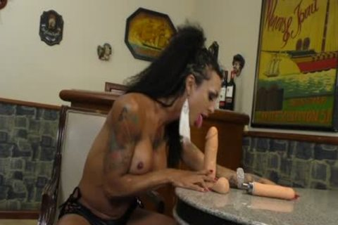 ebony shelady Isa Potter Rides A fake penis And receives assist From A hammering Machine