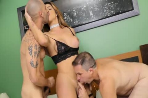 juicy TS Janaina Carvalho Takes On Two twink In A Double butthole Three Way