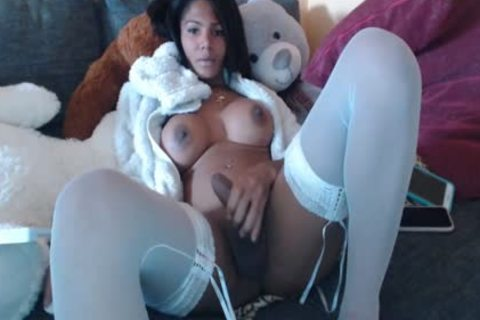 enormous tits enormous arse latin chick ebony tgirl In White stockings Tugging Her enormous penis On cam