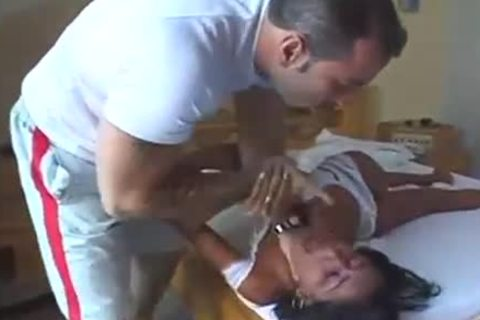 Sultry brunette ladyman fucked Hard On A couch