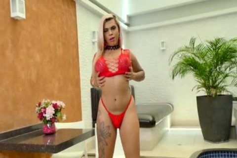 lady-man Bruna Aylla Shoves A fake penis Up Her chubby anal