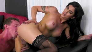 TransAngels - Domino Presley in high heels domination handjob