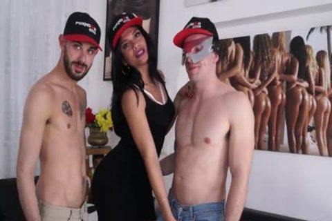 ladyboy hammered By two Italians