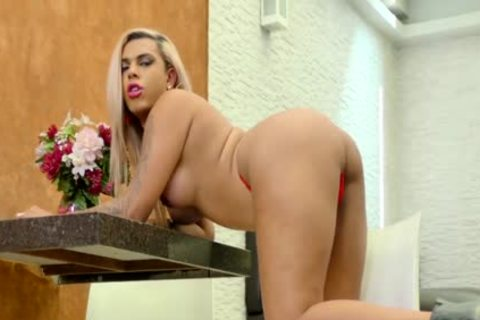 TS Bruna Aylla Teases In Red underware And Shoves A sex-dildo Up Her plump wazoo