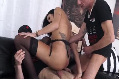 Juliana Soares lascivious Brazilian shemale gets Her taut booty slammed By Two large dicks