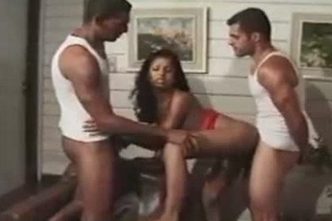 fascinating latina gets Two cocks sucking And driling