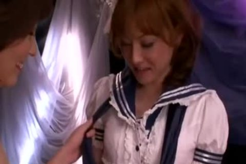 School girl Cosplay Foreplay With Japanese tranny And attractive girl