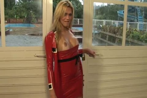TS Karol In Red Latex costume undresss And Touches herself