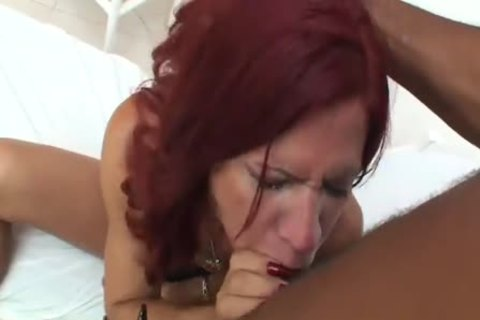 Flat Chested Redhead acquires gangbanged