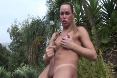 breasty TS Wanks Off Her dick