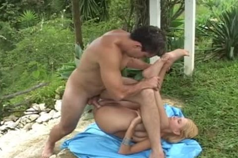 filthy blond ladyboy Sucks dick Then Rides It outdoors In Tropical Villa